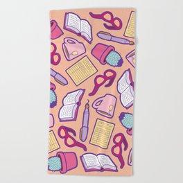 Book Club Pattern in Peach Beach Towel
