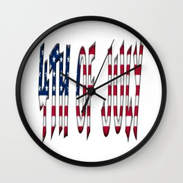 4th of July Stars and Stripes Typography American Flag Colors Wall Clock