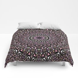 Pink Mosaic Window Mandala Comforters