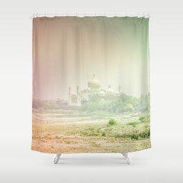 Colors of Dreamy Taj Mahal in the Morning Mist Behind the Yamuna River Shower Curtain