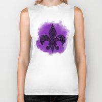 fleur de lis Biker Tanks featuring Purple Fleur De Lis by Riaora Creations