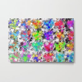 colorful psychedelic splash painting abstract texture in pink blue purple green yellow red orange Metal Print