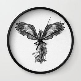 Phoenix Rising - Black and White Wall Clock