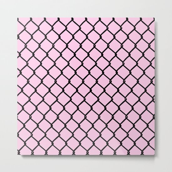 Chain Link Black on Blush Metal Print