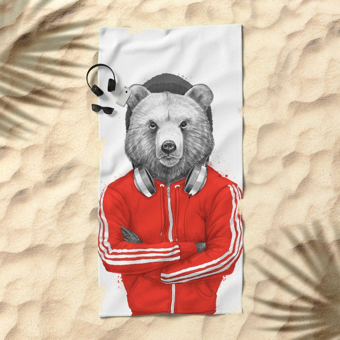 bear coach Beach Towel