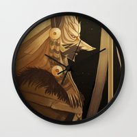 black and gold Wall Clocks featuring Black & Gold by Cruz'n Creations