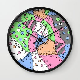 Doodle Art Buttons and Pins - Gray Green Pink Wall Clock