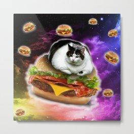 hamburger cat king Spece cosmos pornfood food fast food crazy cat Metal Print