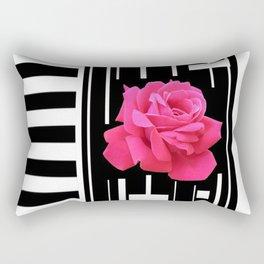 MODERN ABSTRACT PINK ROSES WHITE-BLACK ART Rectangular Pillow