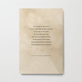 Ralph Waldo Emerson Quote 03 - Typewriter Quote On Old Paper - Literary Poster - Book Lover Gifts Metal Print