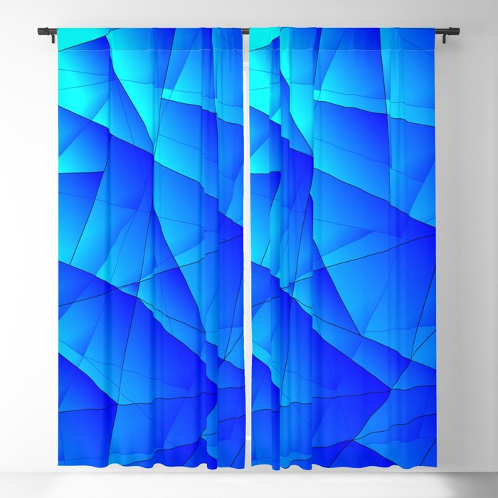 Bright sea pattern of heavenly and blue triangles and irregularly shaped lines. Blackout Curtain
