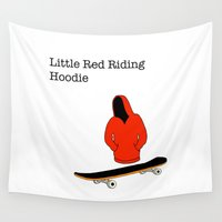 skateboard Wall Tapestries featuring red riding hoodie, skateboard by yahtz designs