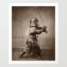 Samurai Brandishing His Sword - Japanese History Art Print