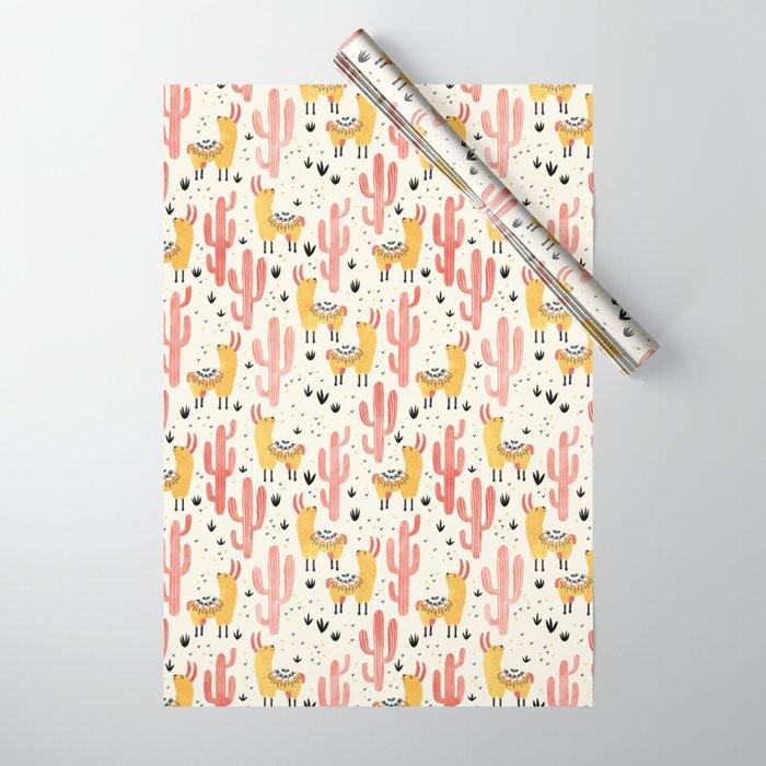 Yellow Llamas Red Cacti Wrapping Paper