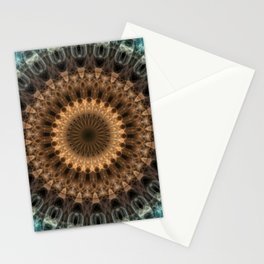 Brown and blue tones mandala Stationery Cards