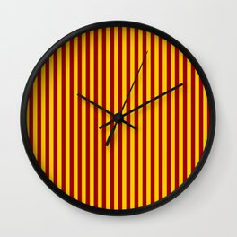 Cardinal and Gold Vertical Stripes Wall Clock
