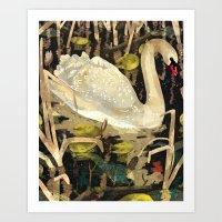 swan Art Prints featuring Swan by Lara Paulussen