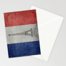 Flag of France with Eiffel Tower Vintage style Stationery Cards
