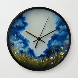 Sky Break, Skyscape, Landscape, Field of Flowers, Wild Flowers Wall Clock