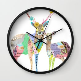 Pastel Deer Collage Wall Clock