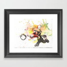 Mario Throwing Fireball Framed Art Print