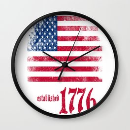 American Flag Established 1776 Vintage Print Wall Clock