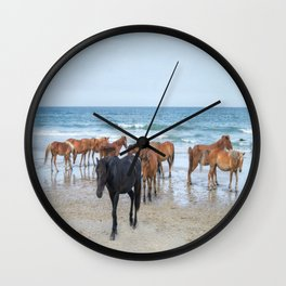 Outer Banks, Corolla, NC, Stallion and his Harem Matted Print Wall Clock