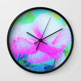 Abstract Pink Hibiscus Bloom with Flower Power Wall Clock