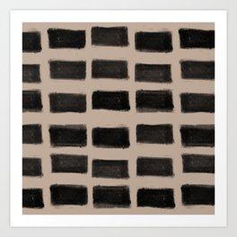 Brush Strokes Horizontal Lines Black on Nude Art Print