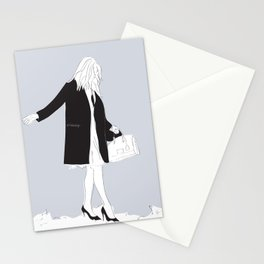 Winter Fashion Girl in the Snow Stationery Cards