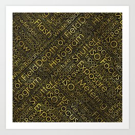 Photography Terms Word Cloud Pattern Gold on Black Art Print