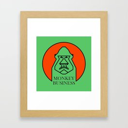 Monkey Business Green Framed Art Print
