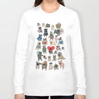 pugs Long Sleeve T-shirts featuring Pugs by Yuliya