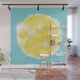Large Sun Print, blue & yellow solar design by Little Lark Wall Mural