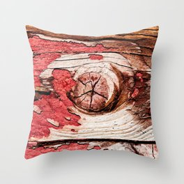 Knotty Wooden Planks Painted Red Long Time Ago Throw Pillow