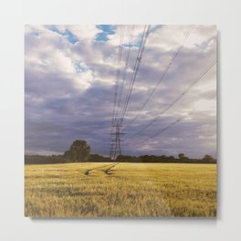 Sunset and pylon over field of barley Metal Print