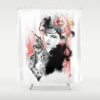 burlesque Shower Curtains featuring Burlesque Cat Woman by Anastazja Bak