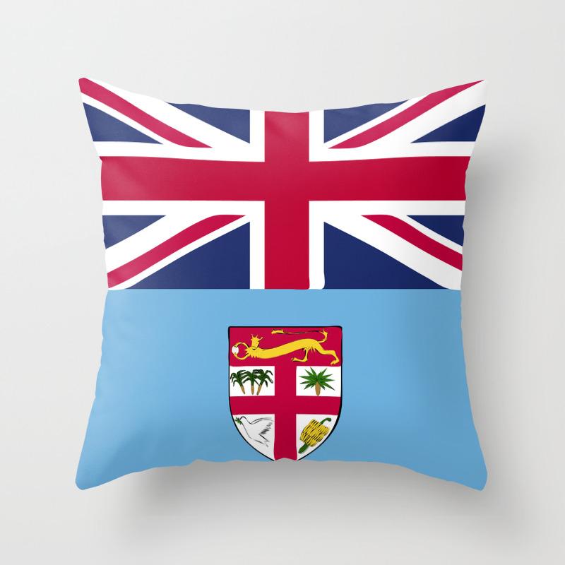 Fiji Flag Emblem Throw Pillow