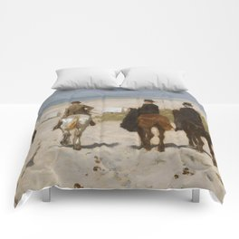 Morning Ride On The Beach - Anton Mauve Comforters