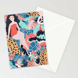 Cheetah & Tropical Girl Stationery Cards
