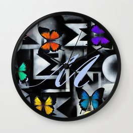Monarch Butterfly Modern Abstract Painting Rainbow Art Wall Clock