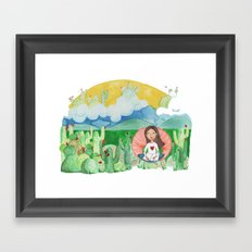 Girl thinking in the dessert about life and afterlife Framed Art Print