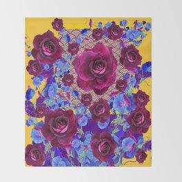 Wine Roses Blue Morning Glories Purple Asian Art Design Throw Blanket