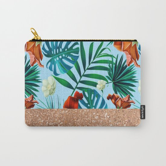 Tropical blue floral rose gold Carry-All Pouch