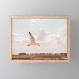 Flying bird Print, white seagull wings, twilight sunset nature photography, neutral peach, peace Framed Mini Art Print