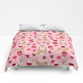 Shiba Inu dog breed love cupcakes hearts valentines day pet gifts Shiba inus Comforters