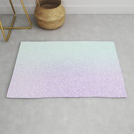Colorful Purple and Green Watercolor Trendy Glitter Mermaid Pastel Iridescent Rug