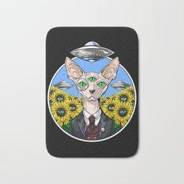 Psychedelic Sphynx Cat Alien Abduction Bath Mat