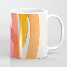 Funky Retro 70' Style Pattern Orange Pink Greindent Striped Circles Mid Century Colorful Pop Art Coffee Mug