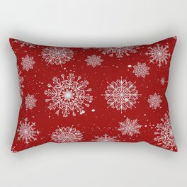 Assorted White Snowflakes On Red Background Rectangular Pillow